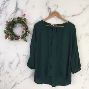 41 Hawthorn Lace Trim Green Blouse